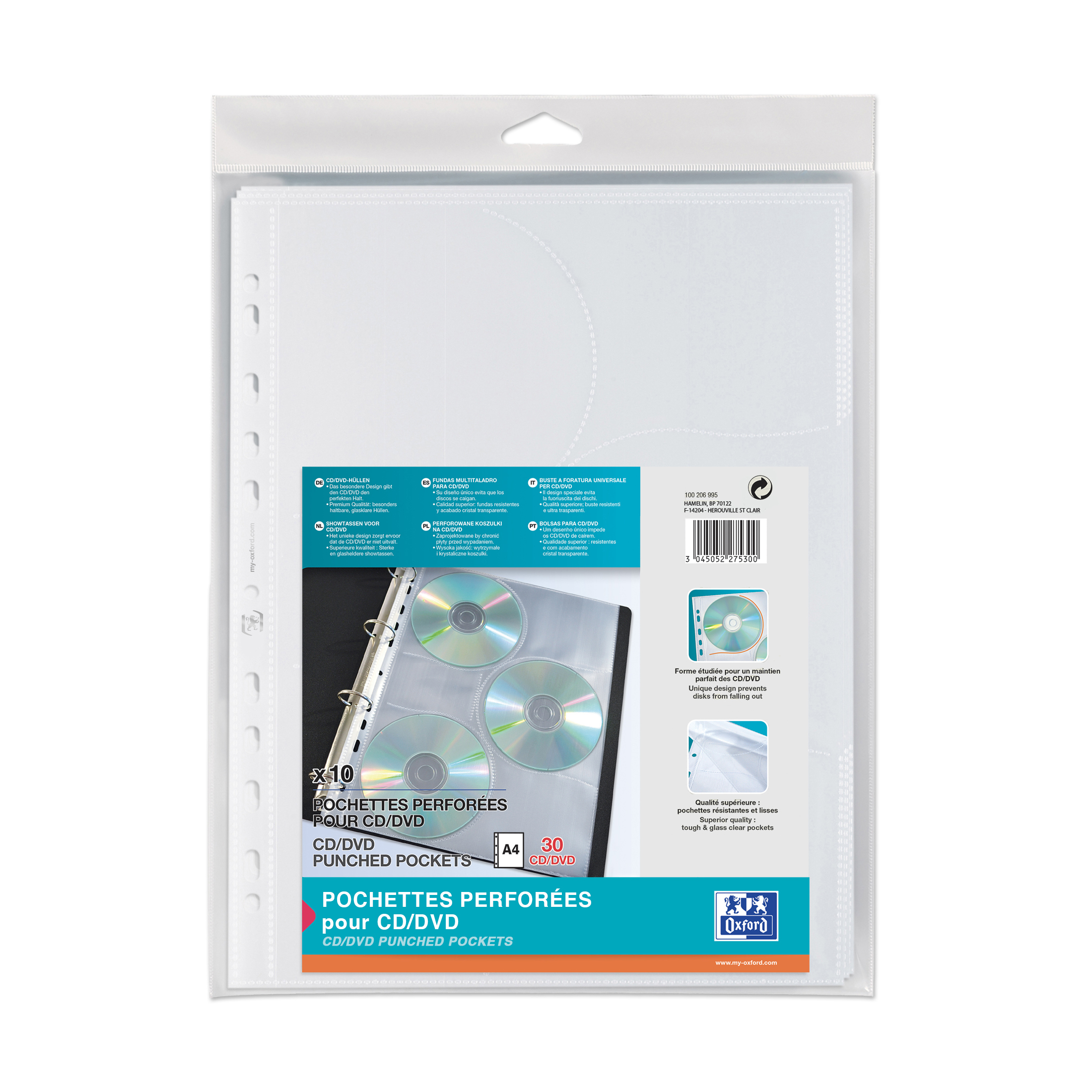 Oxford CD/DVD Punched Pockets 200 Micron Glass Clear Ref 100206995 Pack 10