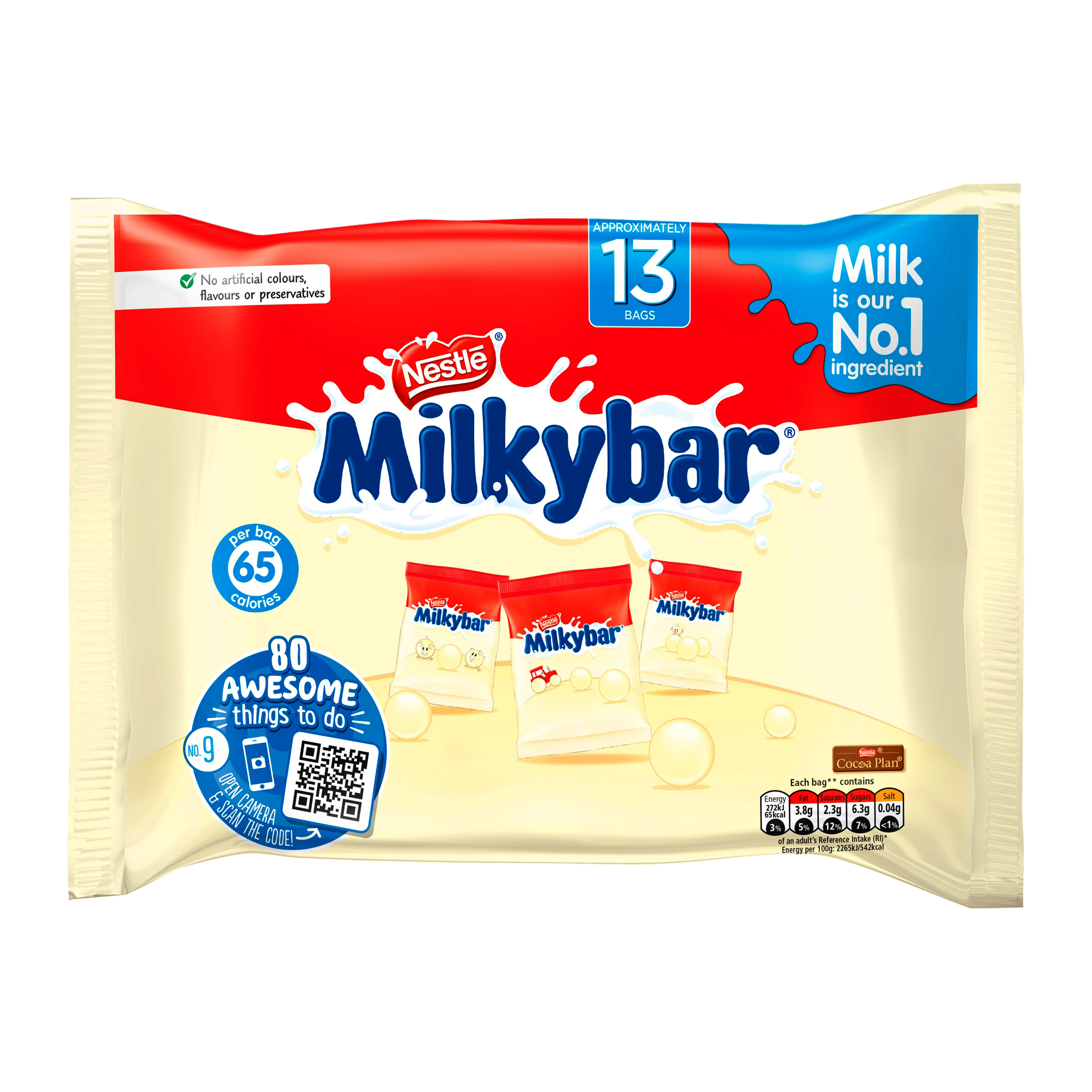 Sweets / Chocolate Milky Bar Buttons White Chocolate Mini Bags 156g (Approx 13 Mini Bags) Ref 12385021