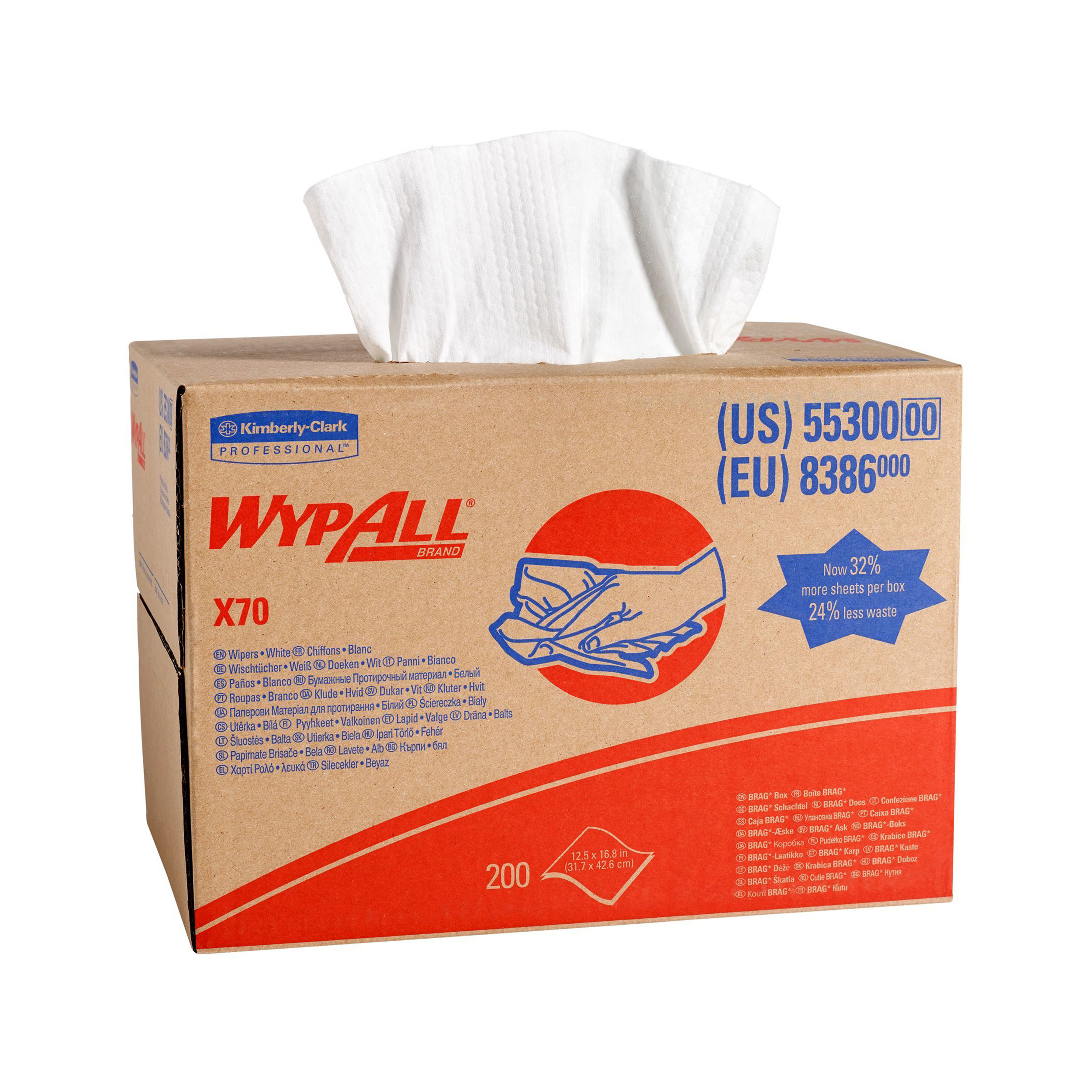 Cleaning cloths or wipes Wypall X70 Cleaning Cloth Brag Box 1 Ply Sheet 427x318mm Ref 8386 Pack 200