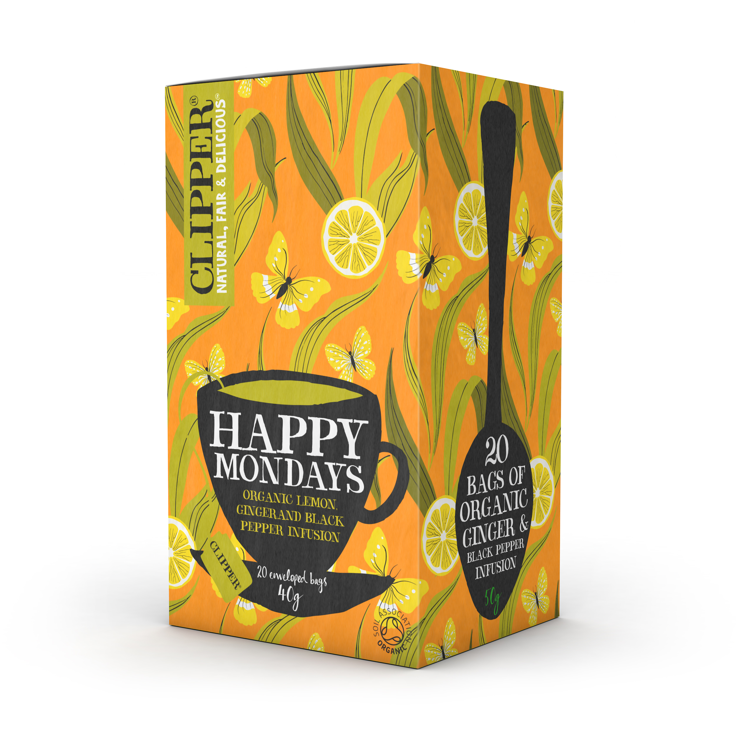 Tea bags Clipper Organic Individually Enveloped Tea Bags Happy Monday Ref 0403348 Pack 20