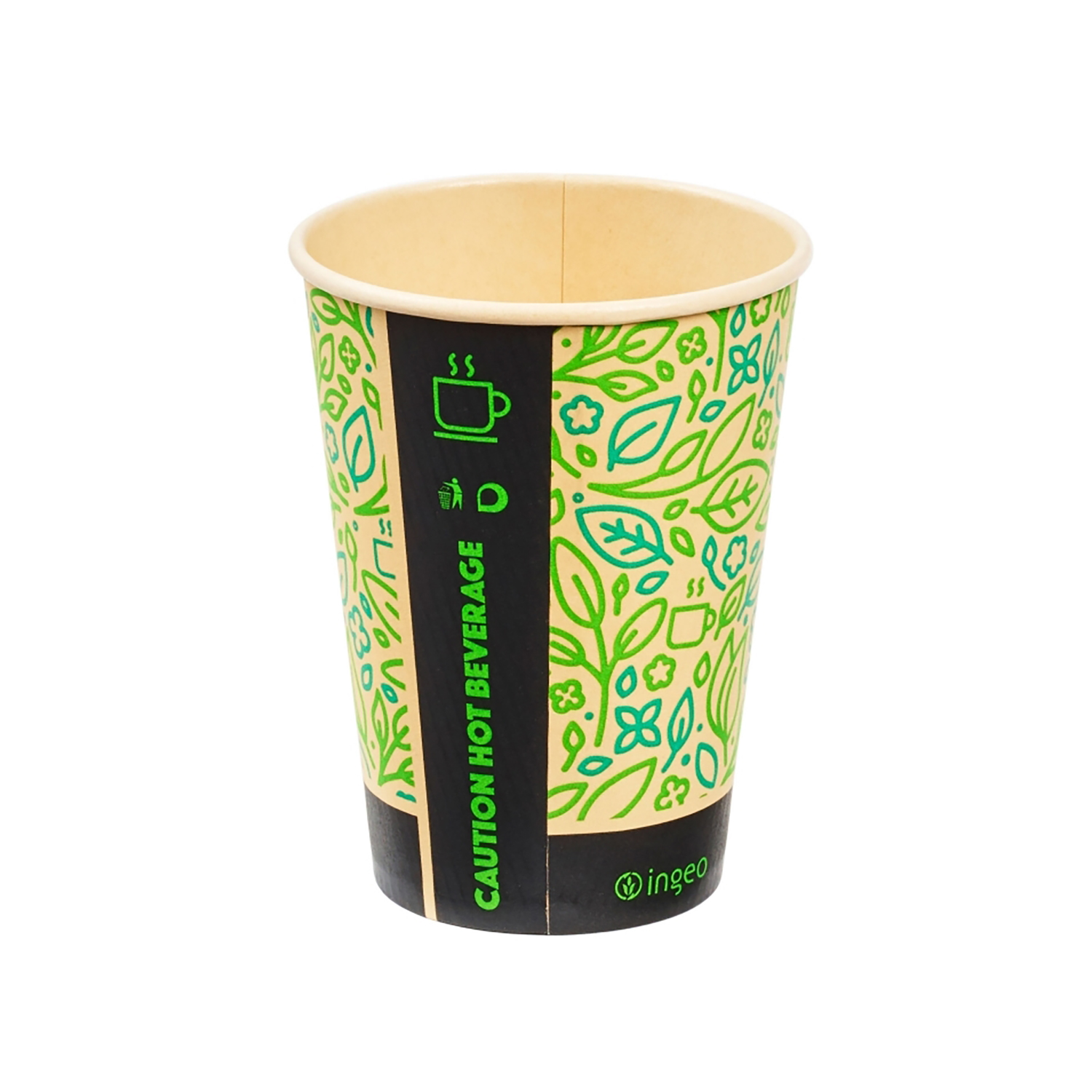 Domestic disposable cups or glasses or lids Ingeo Ultimate Eco Bamboo 12oz Biodegradable Disposable Cups Ref 0511224 [Pack 25]
