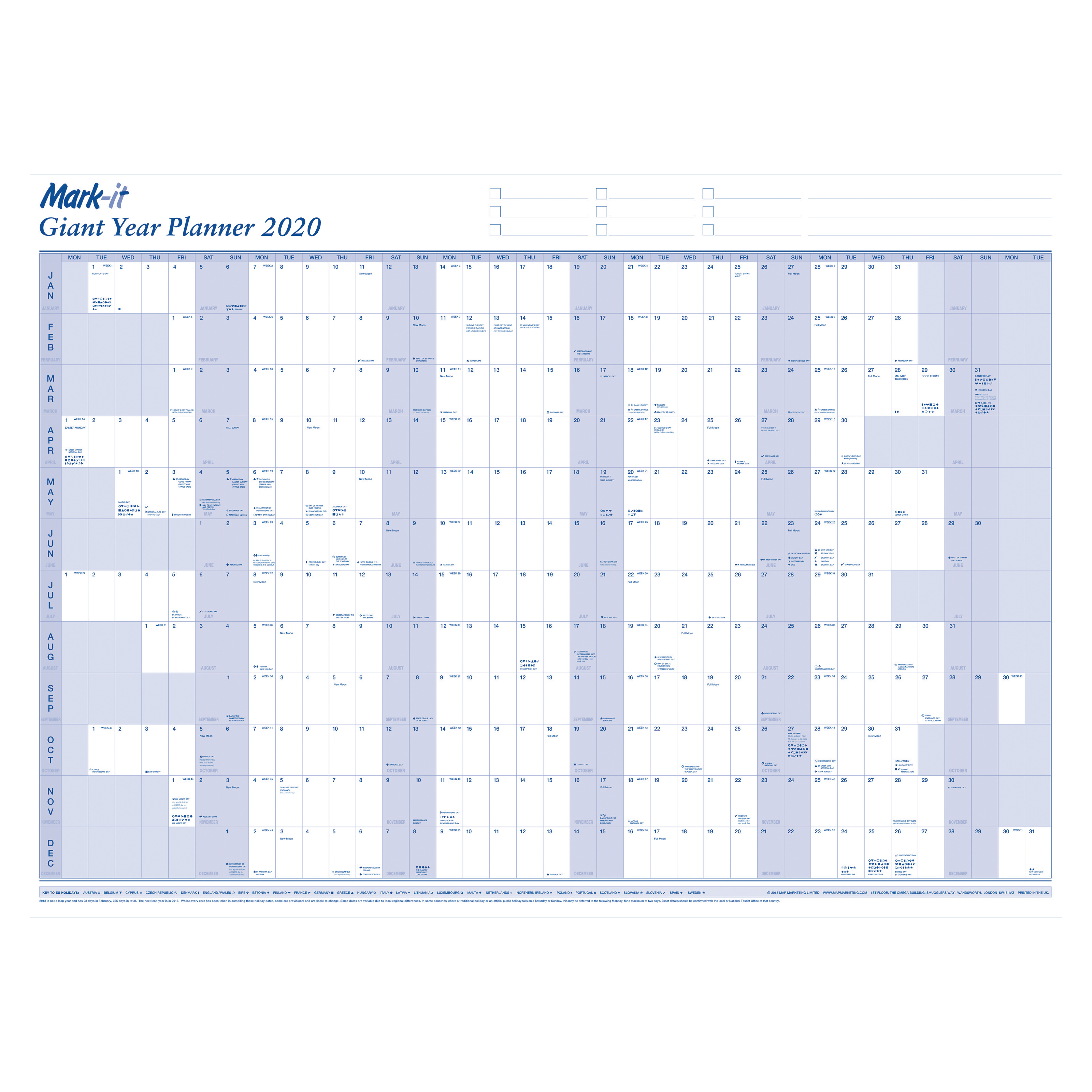 Planners Mark-it 2020 Giant Year Planner Unmounted Landscape with Accessory Kit 1165x820mm Blue/White Ref 20YP