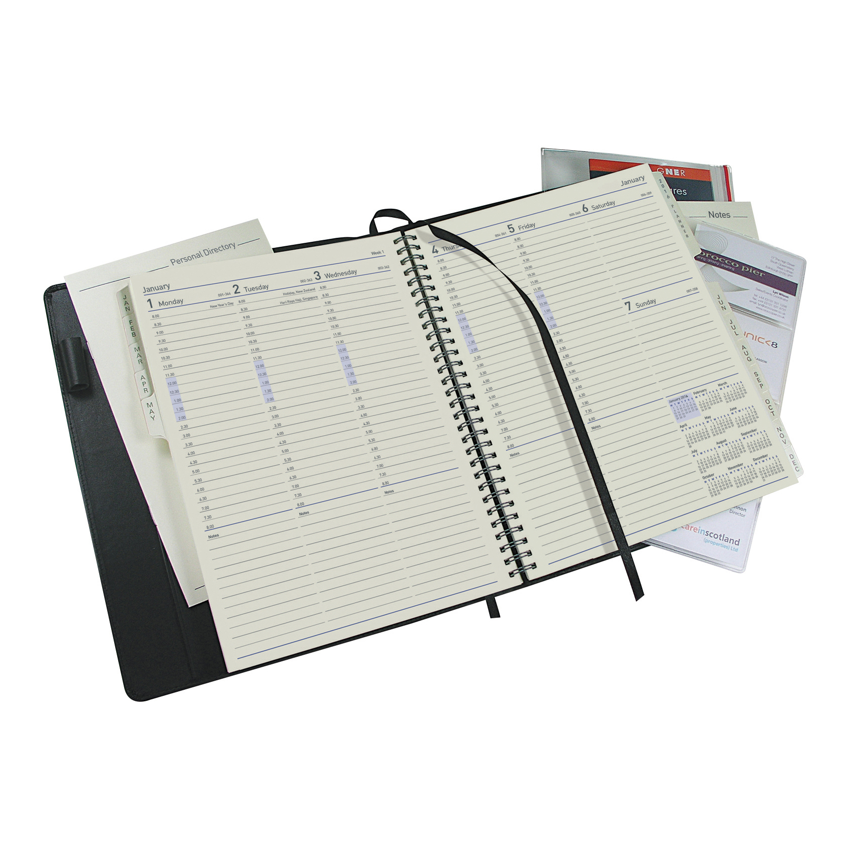 Collins 2020 Elite Manager Diary Week to View Wirobound 190x260mm Black Ref 1190V 2020