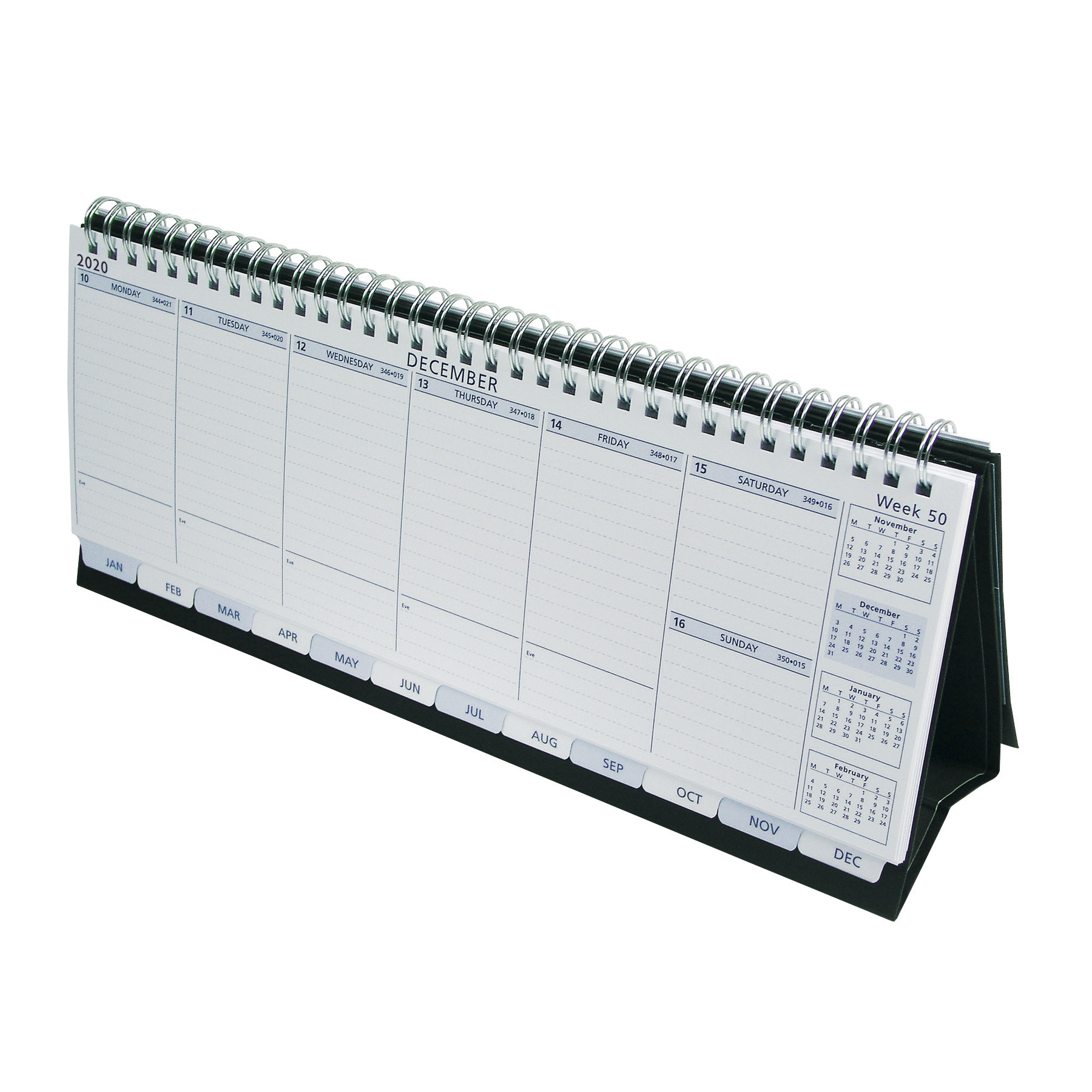 Collins Colplan 2020 Deskline Planner Week to View Landscape 115x300mm White/Black Ref CDL1 2020