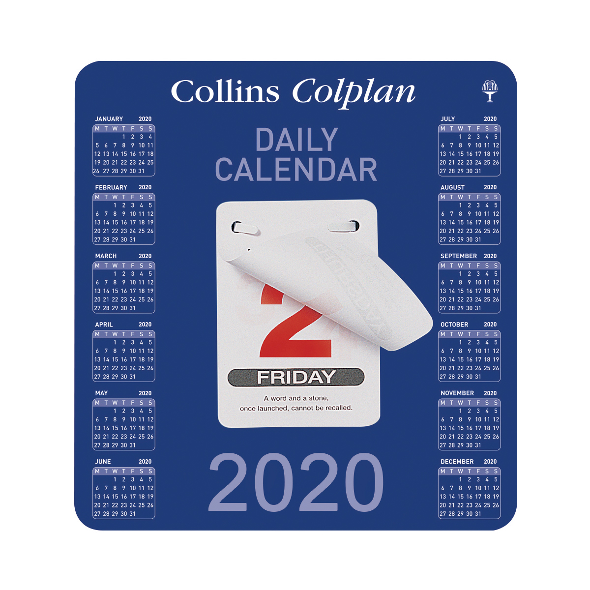 Calendars Collins Colplan 2020 Daily Block Calendar 12 Month Daily Tear-off 165x175mm White/Blue Ref CDBC 2020