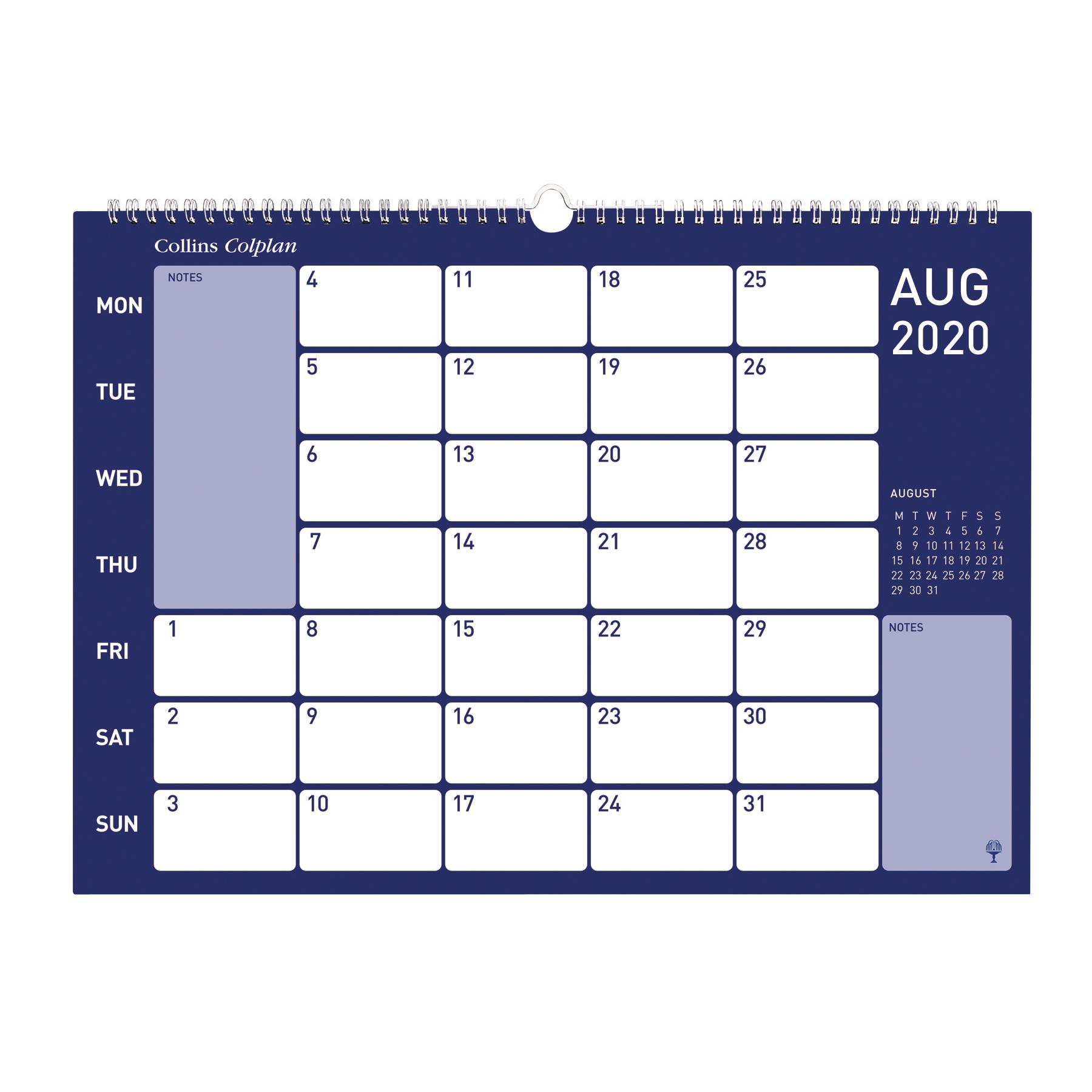 Collins Colplan 2020 Colplan Memo Calendar Month to View Landscape 297x420mm Assorted Ref CMC 2020