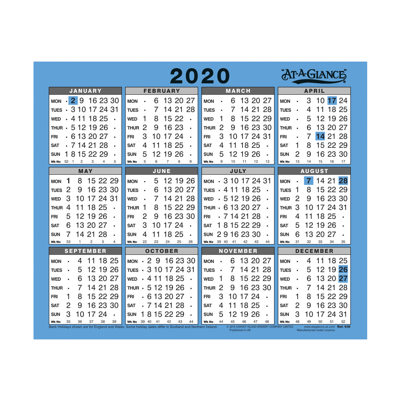 Calendars At-A-Glance 2020 Wall/Desk Calendar Year to View Gloss Board Binding 254x210mm White/Blue Ref 930 2020