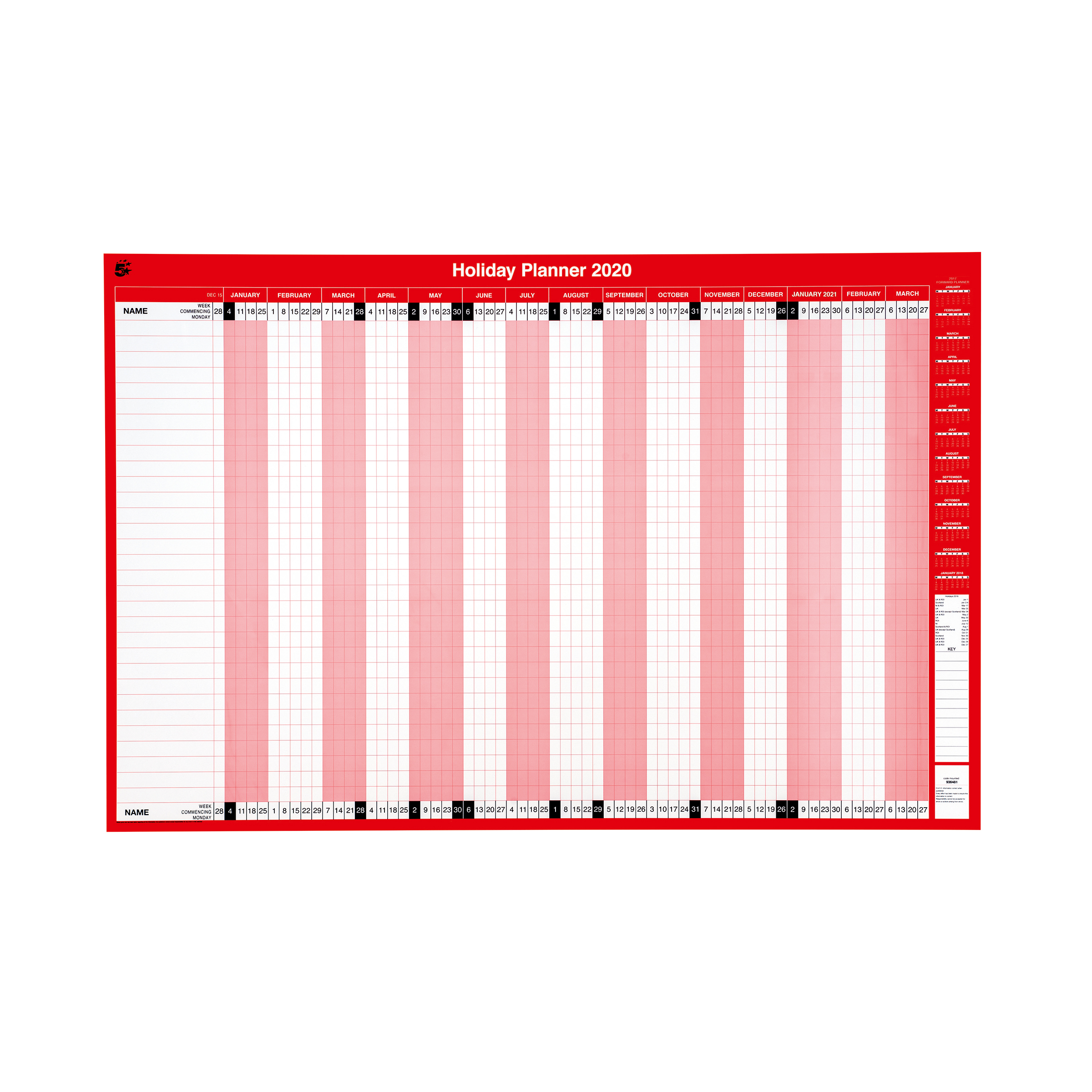 5 Star Office 2020 Holiday Planner Unmounted Landscape with Planner Kit 915x610mm Red