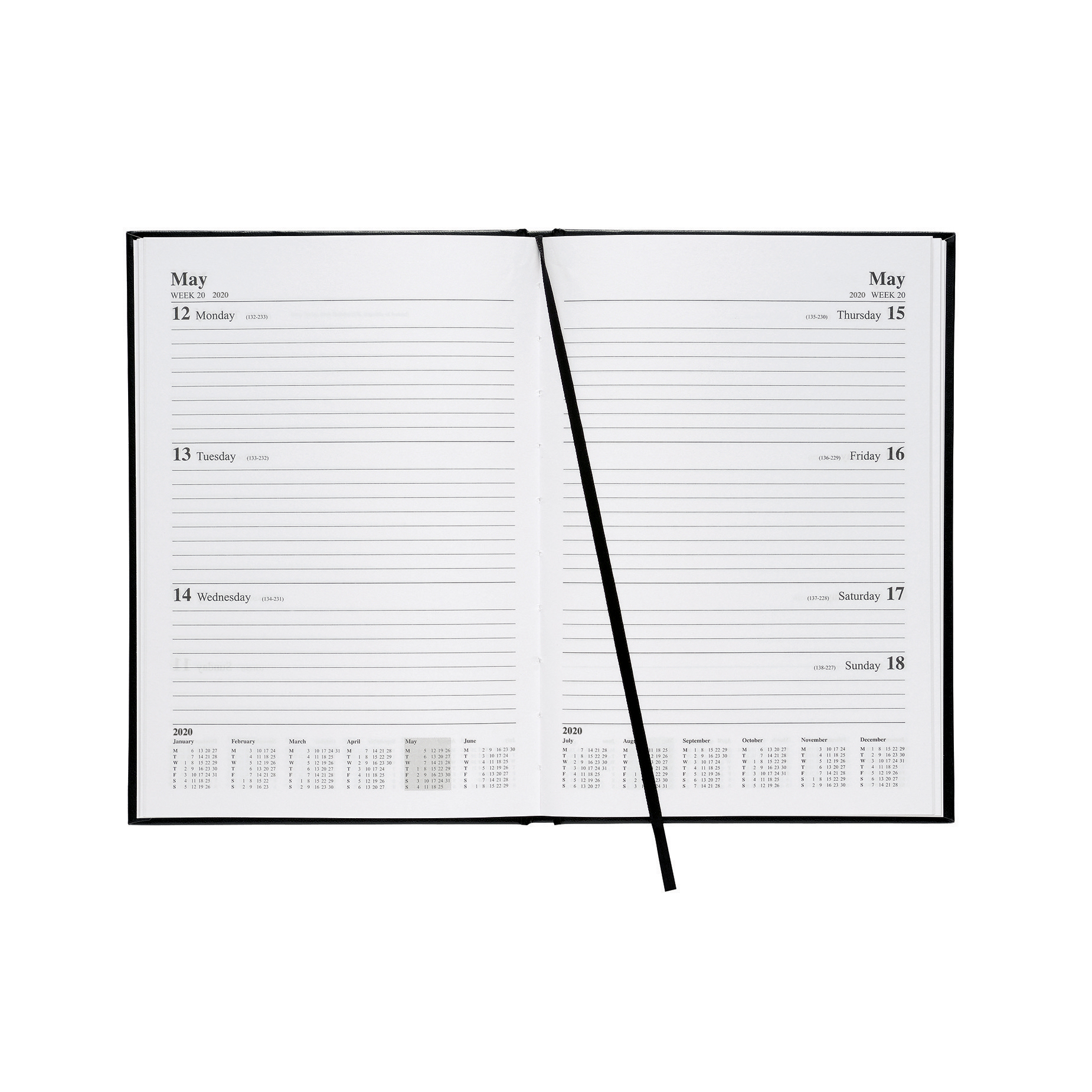 5 Star Office 2020 Diary Week to View Casebound and Sewn Vinyl Coated Board A5 210x148mm Black
