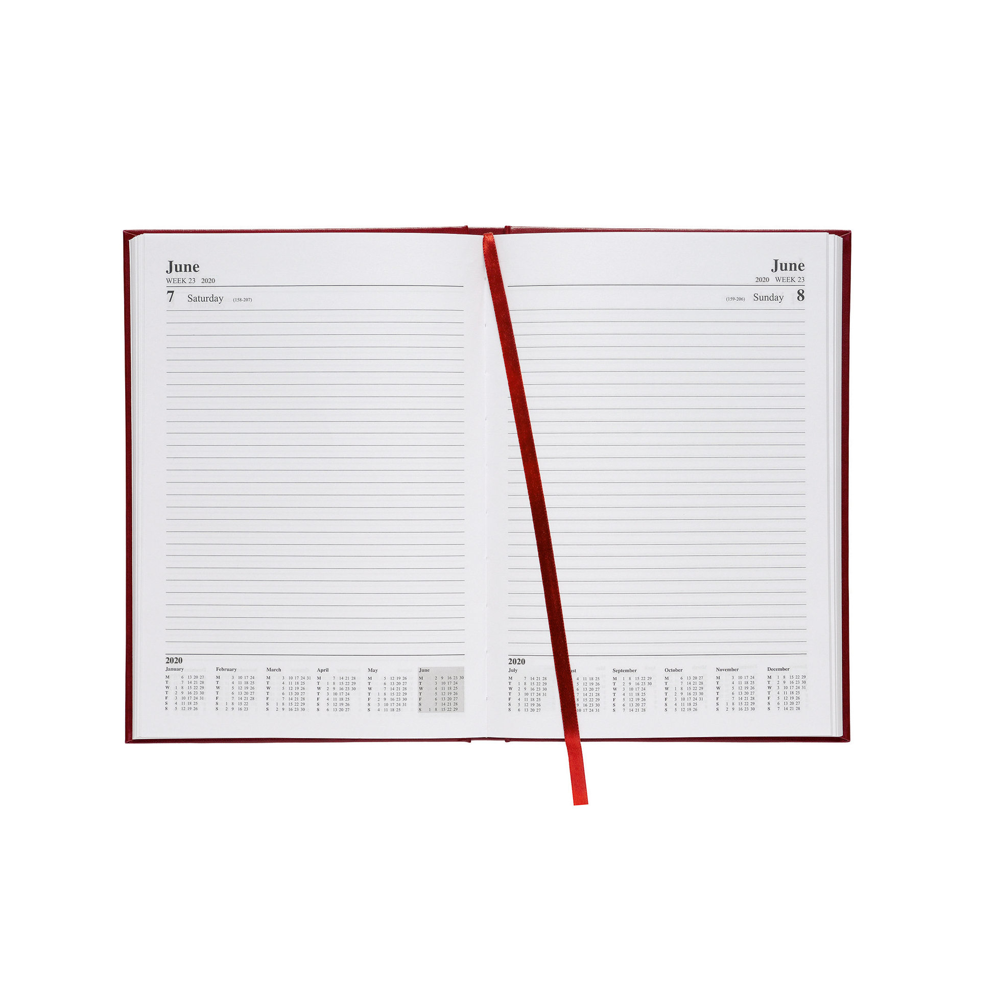 5 Star Office 2020 Diary Day to Page Casebound and Sewn Vinyl Coated Board A5 210x148mm Red