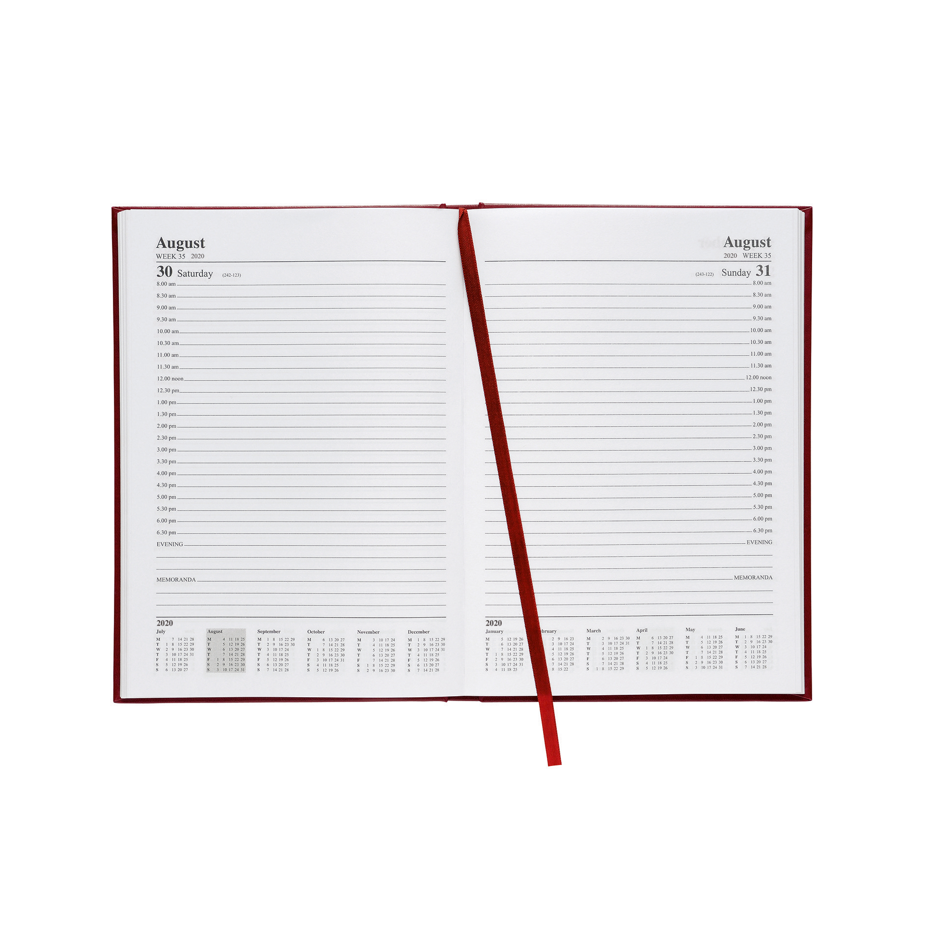 5 Star Office 2020 Appointment Diary Day to Page Casebound and Sewn Vinyl Coated Board A5 210x148mm Red