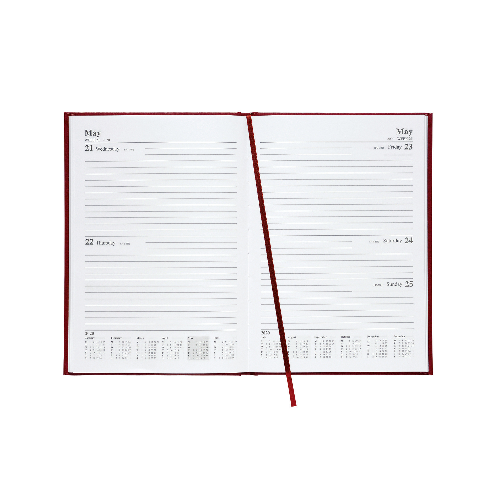 5 Star Office 2020 Diary Two Days to Page Casebound and Sewn Vinyl Coated Board A5 210x148mm Red