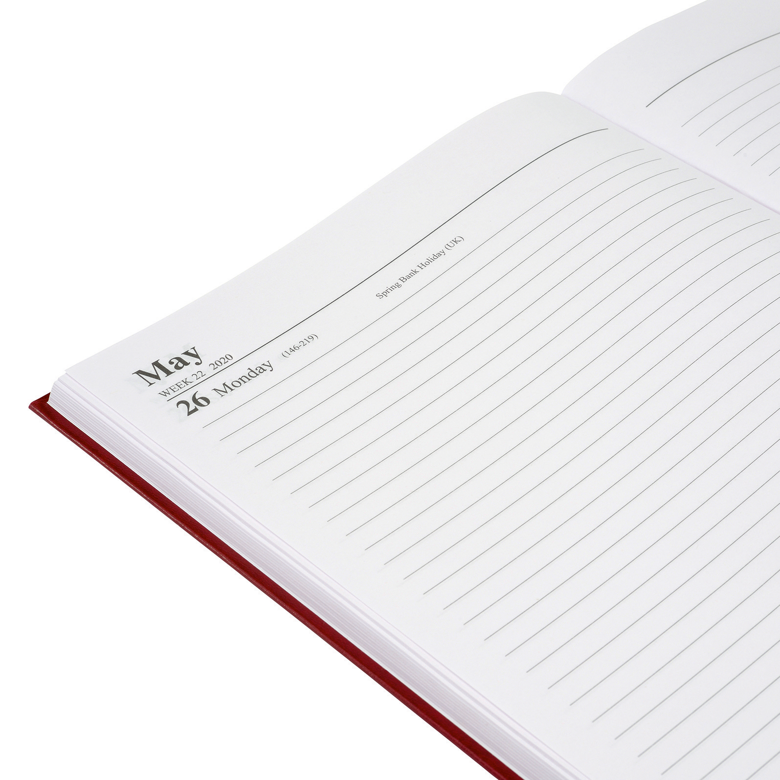 5 Star Office 2020 Diary Day to Page Casebound and Sewn Vinyl Coated Board A4 297x210mm Red