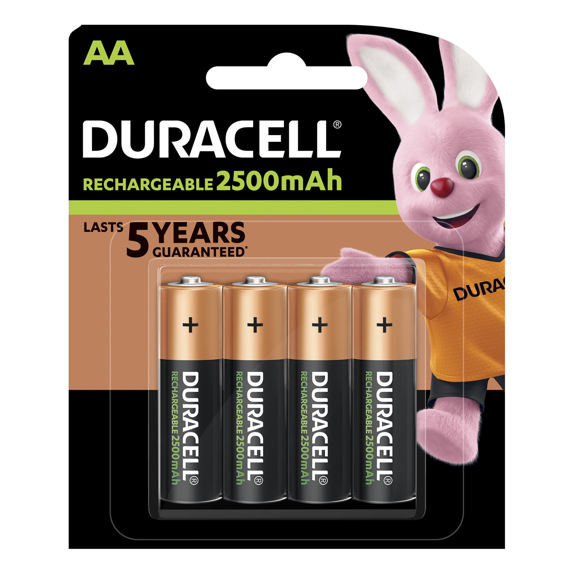 AA Duracell Stay Charged Battery Long-life Rechargeable 2500mAh AA Size 1.2V Ref 81418237 Pack 4