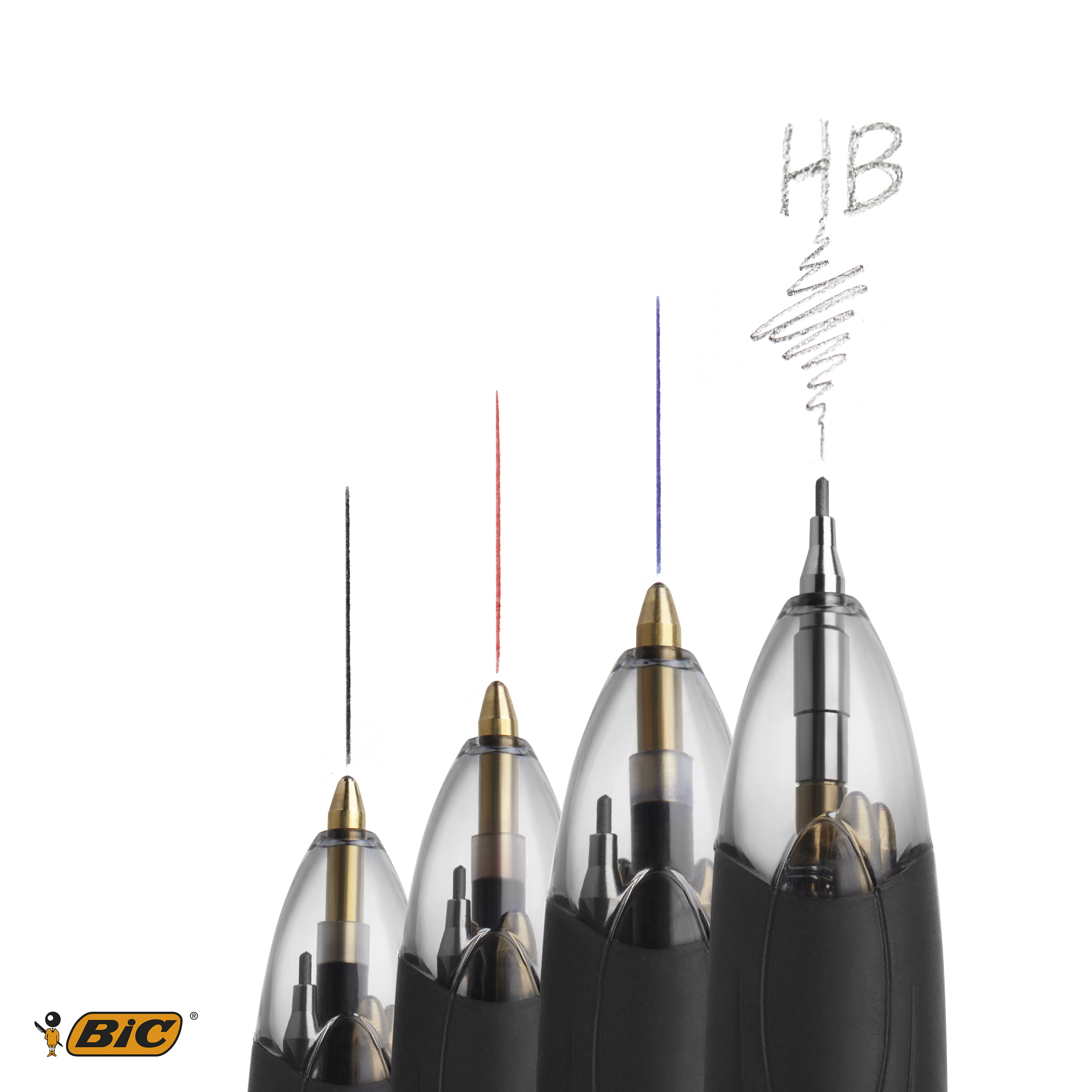 Bic 4 Colour Multifunction Ball Pen Medium with HB Pencil Black Blue Red Ink Ref 942104 Pack 12