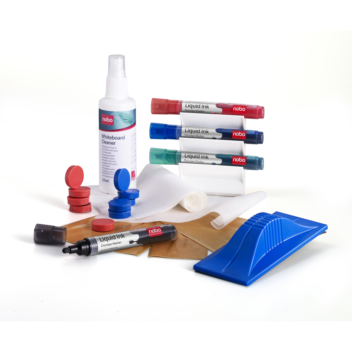 Pen Tray Nobo Whiteboard User Kit 4 Mrkrs/Eraser/Refills/Absorbent Cloths/125ml Cleaning Spray/Magnets Ref 1901430