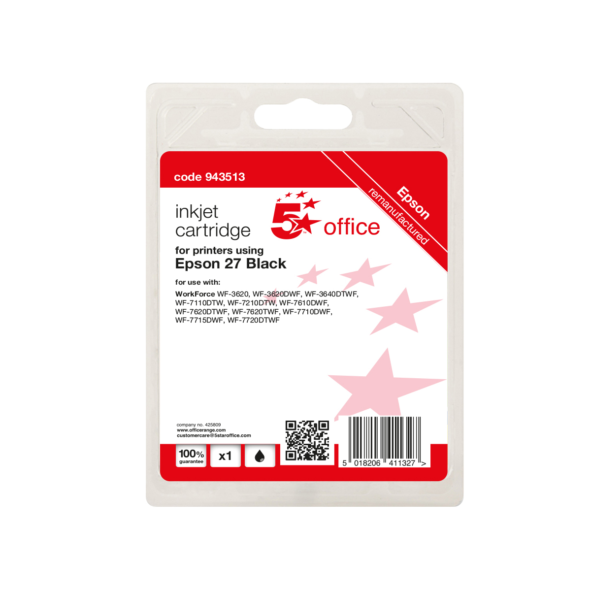 Ink cartridges 5 Star Office Remanufactured Inkjet Cartridge Black Epson 27 Alternative