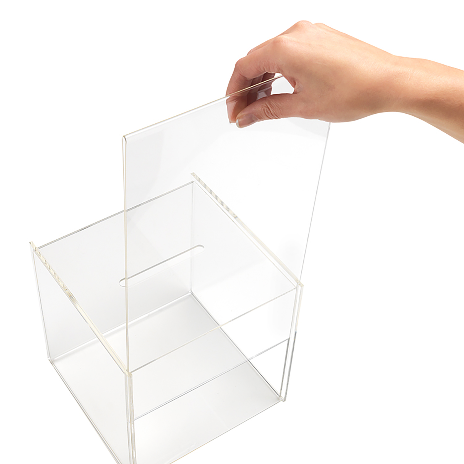 Suggestion or Business Card Box with Sign Holder 211x313x381mm Clear