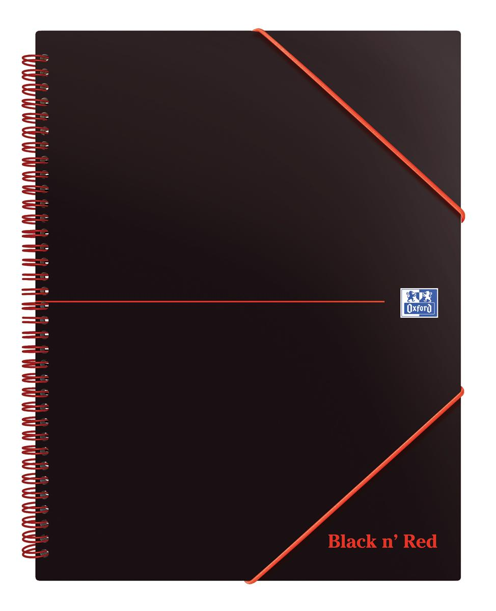Image for Black n Red Meeting Book Plastic Wirebound Rear Elasticated 3-Flap Folder A4plus Ref 100104323 [Pack 5]