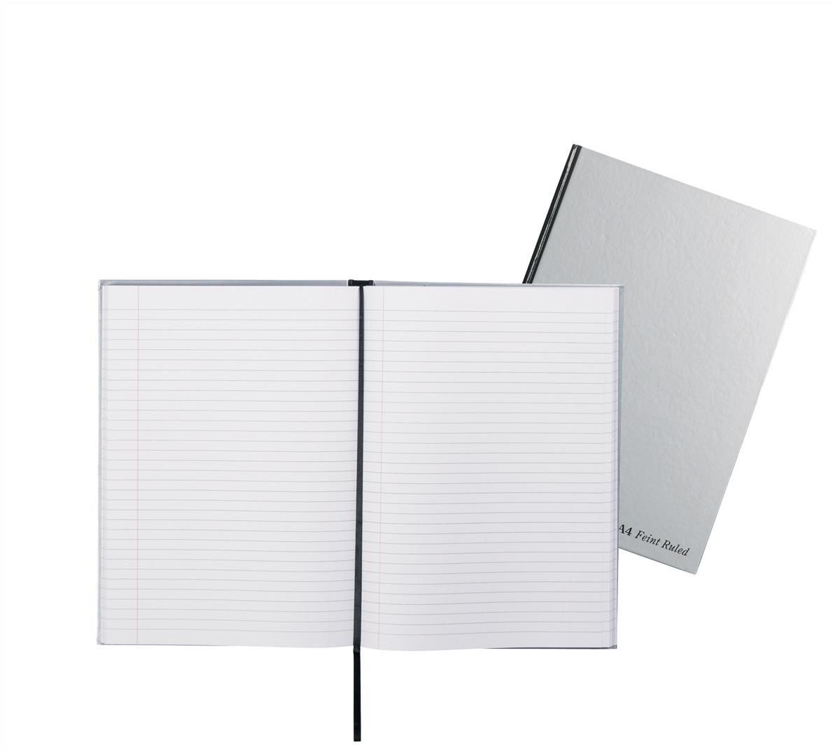 Pukka Pad Notebook Casebound Hardback Ruled with Ribbon 90gsm 192pp A4 Silver Ref RULA4 [Pack 5]