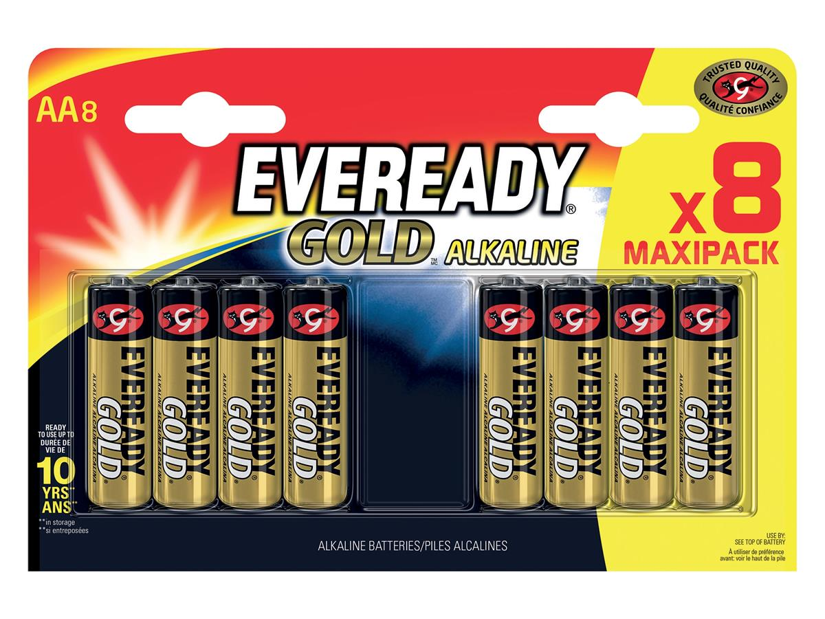 Image for Eveready Gold Alkaline Batteries AA/LR6 Ref E300691700 [Pack 8]