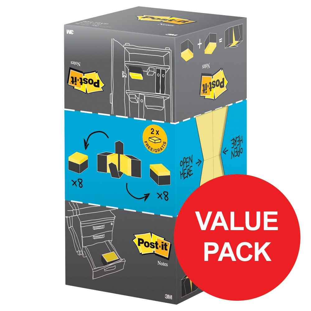 Image for Post-it Note Value Display Pack Dispenser with Pads 76x76mm Yellow Ref 654CY-VP20 [Pack 20]