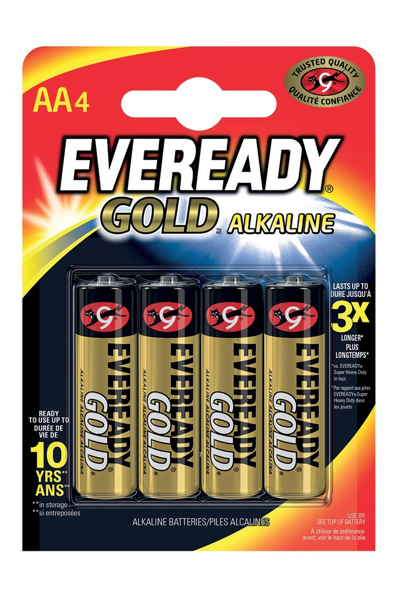 Image for Eveready Gold Alkaline Batteries AA/LR6 Ref 635267 [Pack 4]