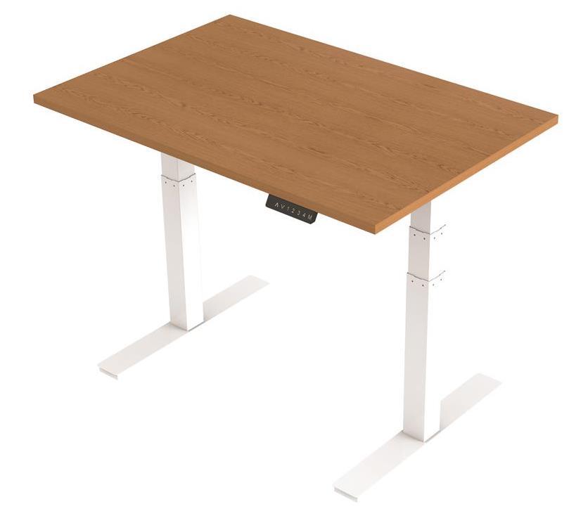 Image for Trexus Sit Stand Desk Height-adjustable White Leg Frame 1200mm Oak