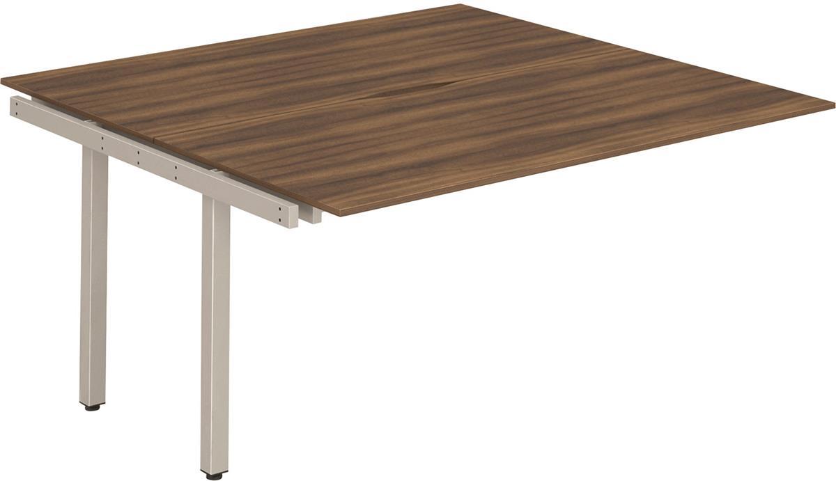 Image for Trexus Bench Desk Double Extension Lockable Sliding Top Silver Leg Frame 1200mm Walnut