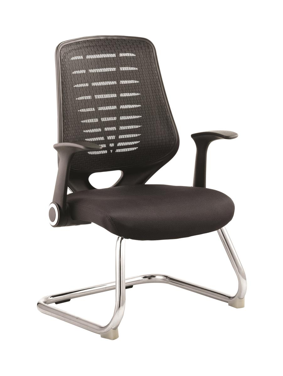 Image for Sonix Visitor Chair Cantilever Folding Arms Flat Packed Airmesh & Mesh Black
