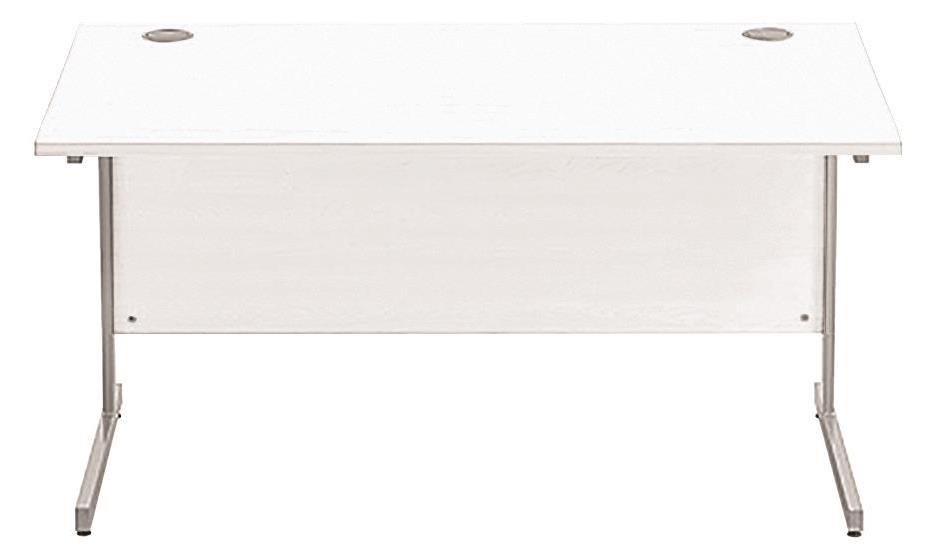Image for Sonix Cantilever Desk Rectangular Silver Cantilever Leg 1400mm Polar White