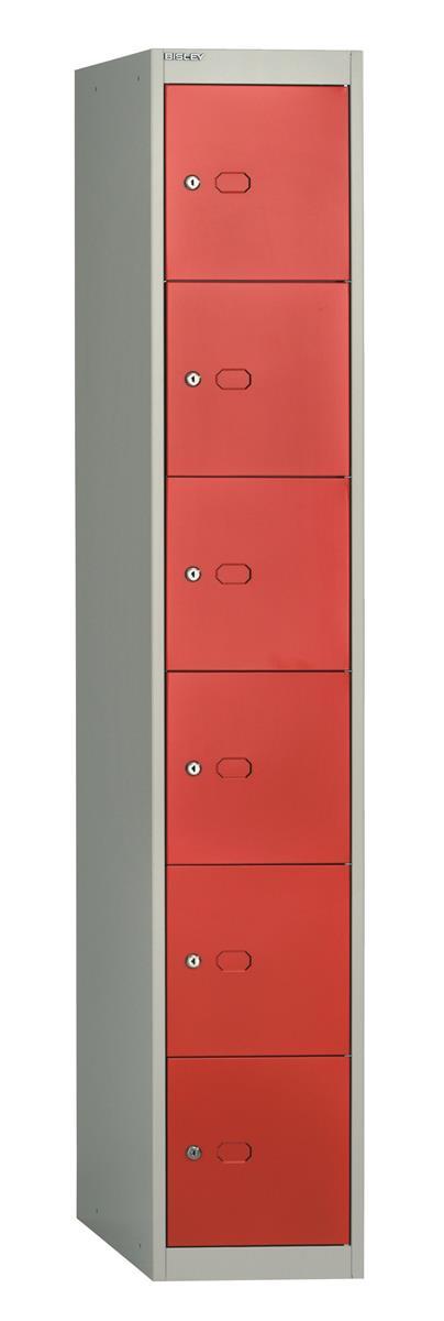 Image for Bisley Steel Locker 457 Six Door Grey/Red