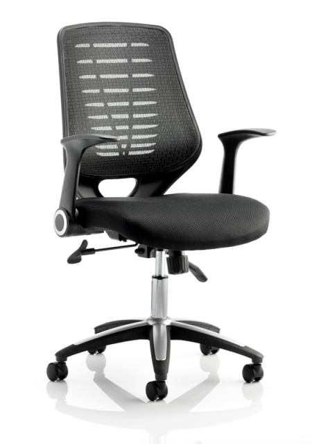 Image for Sonix Operator Chair Folding Arms Flat Packed Airmesh & Mesh Black