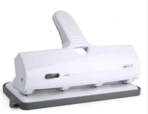Image for Rapesco ALU 40 Hole Punch Heavy Duty 4-Hole White Ref 1324