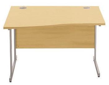Image for Sonix Cantilever Slim Wave Desk Silver Cantilever Leg 1200mm Oak