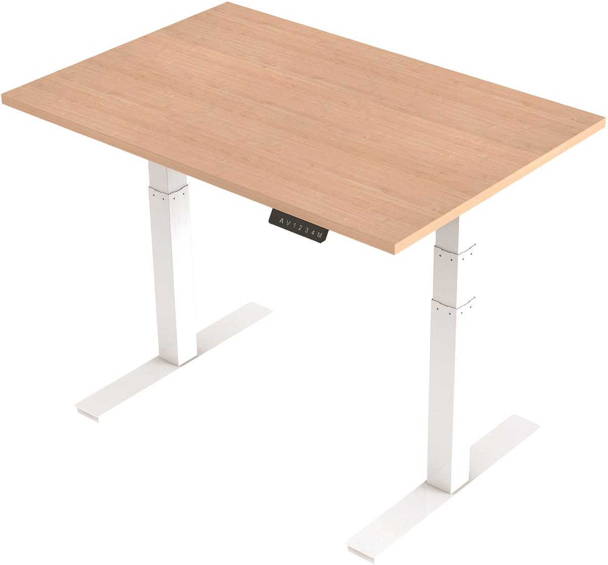 Image for Trexus Sit Stand Desk Height-adjustable White Leg Frame 1200mm Maple