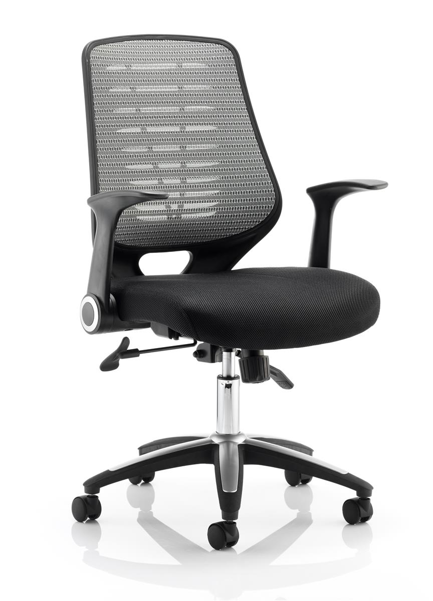 Image for Sonix Operator Chair Folding Arms Flat Packed Airmesh & Mesh Black/Silver