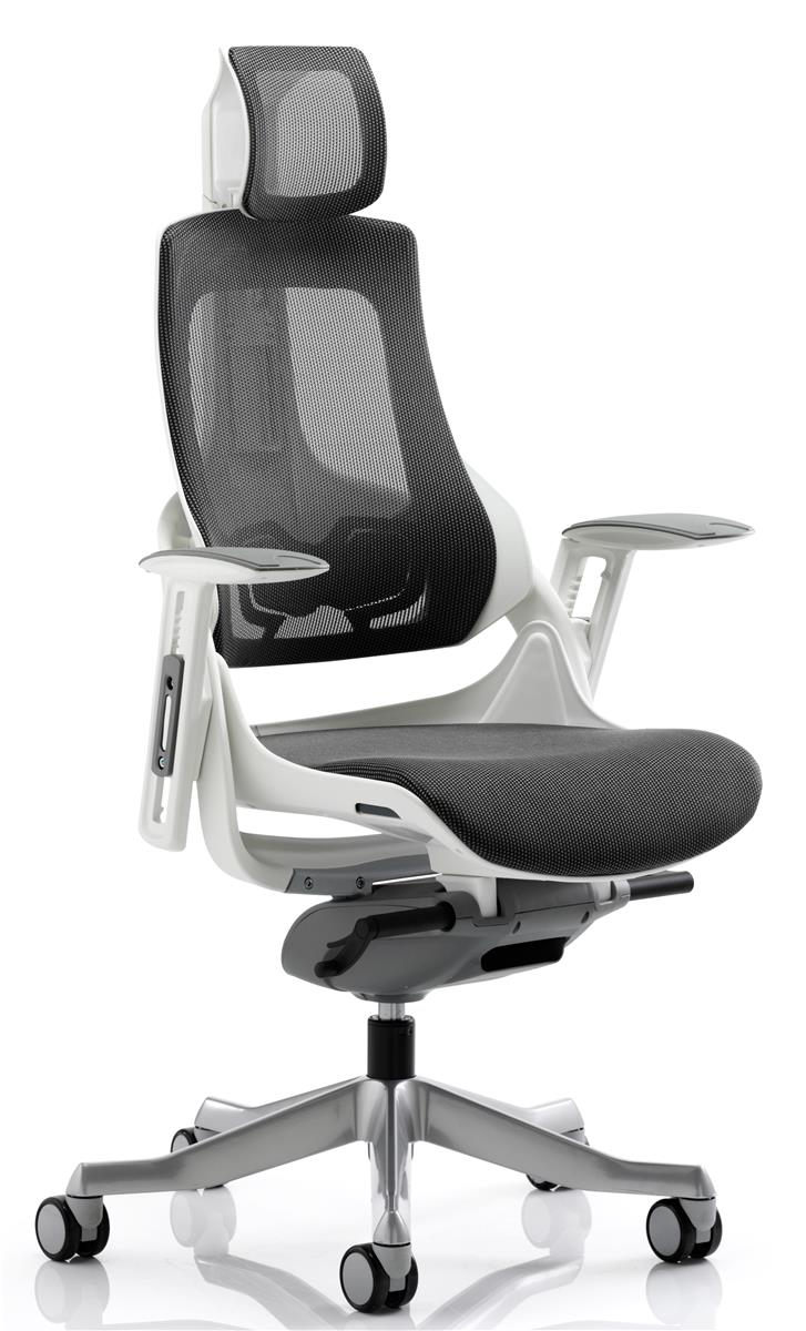 Image for Adroit Executive Chair Height-adjustable Arms Flat Packed Mesh Charcoal