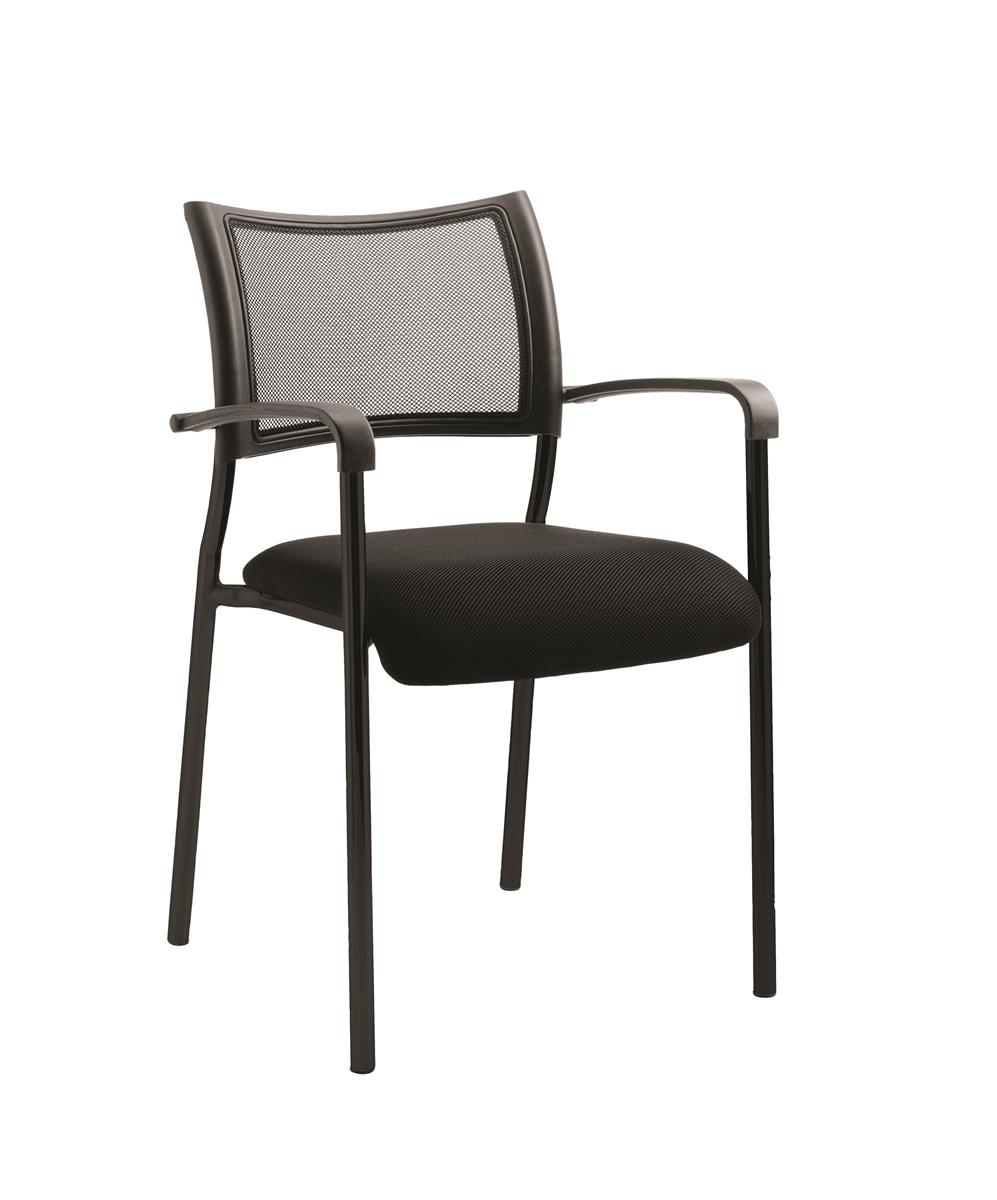 Image for Trexus Visitor Chair Static Arms Pre-assembled Fabric Black