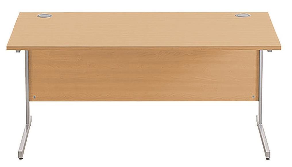Image for Sonix Cantilever Desk Rectangular Silver Cantilever Leg 1600mm Rich Beech
