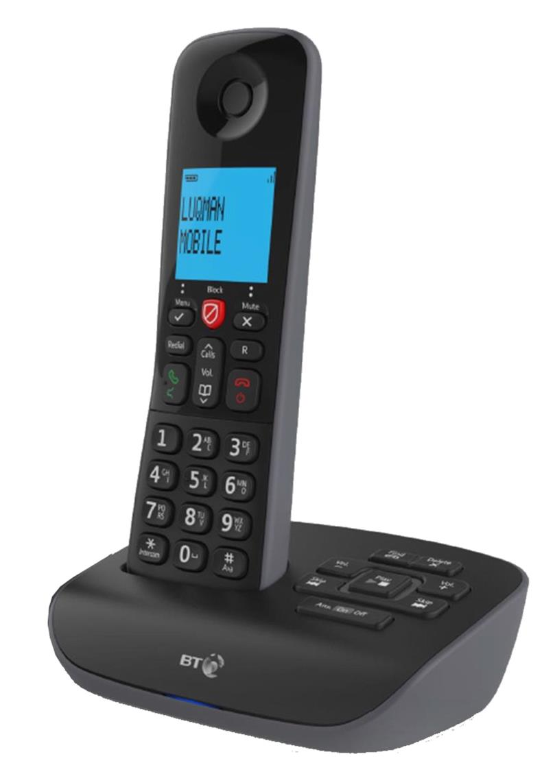 Image for BT Essential 1 Single Telephone Answering Machine with Nuisance Call Block Feature Black Ref 90657