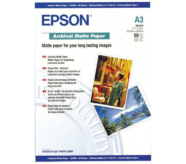 Image for Epson Archival Matte Paper 192gsm A3 Ref C13S041344 [Pack 50]
