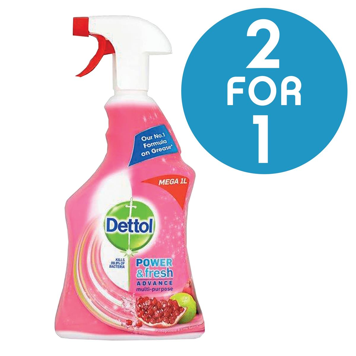 Dettol Power Fresh Pomegranate Antibacterial Cleaner Trigger Spray 1 Litre Ref 3007938 [2 For 1] Jan 2018