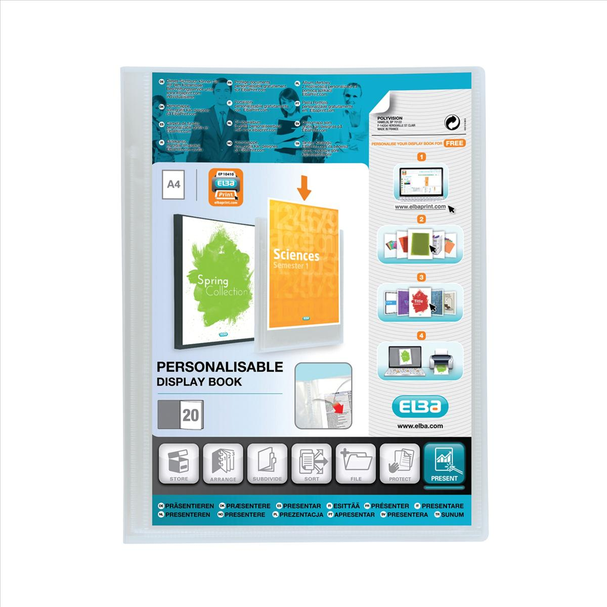 Elba Polyvision Display Book 20 Pockets A4 Clear [3 For 2] Jan-Dec 2018