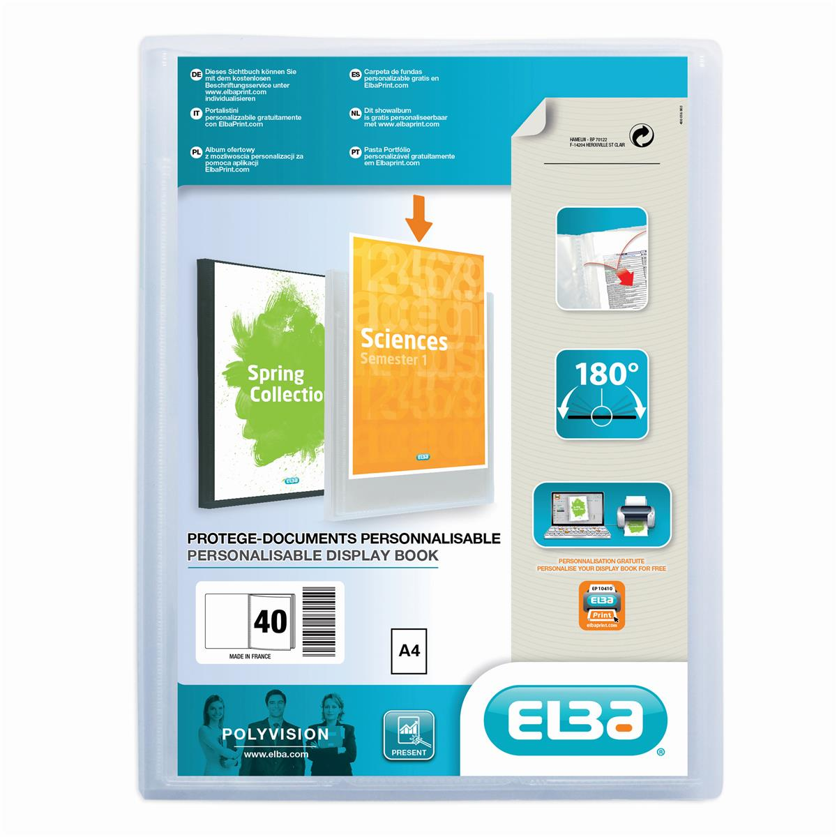 Elba Polyvision Display Book 40 Pockets A4 Clear [3 For 2] Jan-Dec 2018