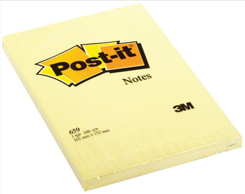 Post-it Notes Large Plain Pad of 100 Sheets 102x152mm Canary Yellow Ref 659YE [Pack 6]