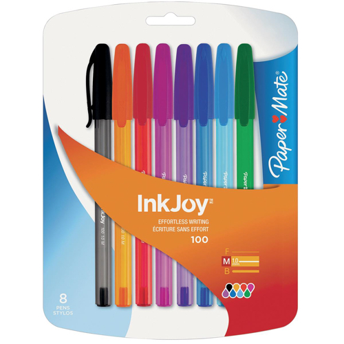 Paper Mate InkJoy 100 Ballpoint Pen Blue Ref S0957130 [Pack 50] [8 Assorted FREE] Jan-Dec 2017
