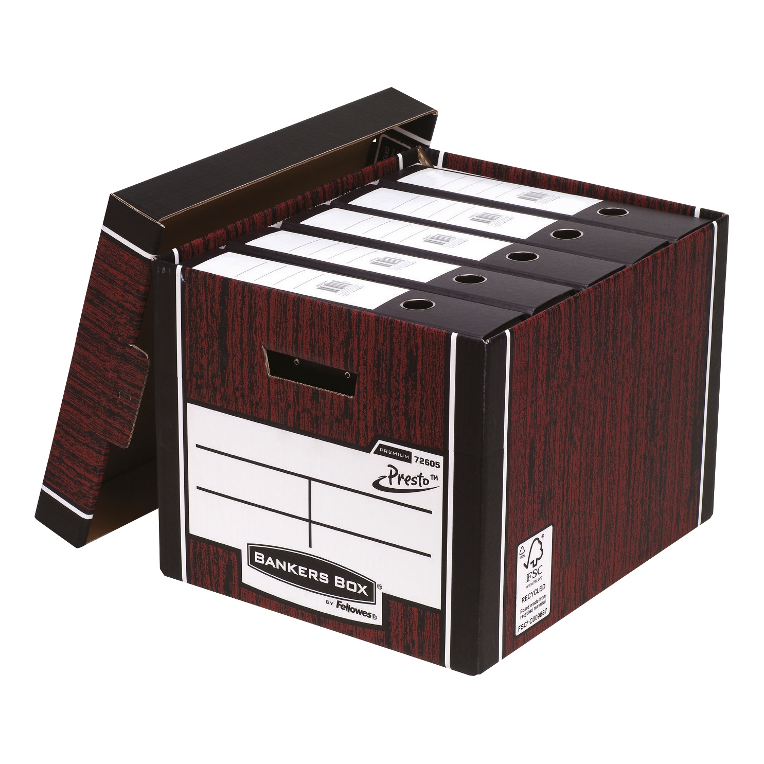 Storage Boxes Bankers Box Premium Storage Box (Presto) Tall Woodgrain FSC Ref 7260502 [Pack 10]