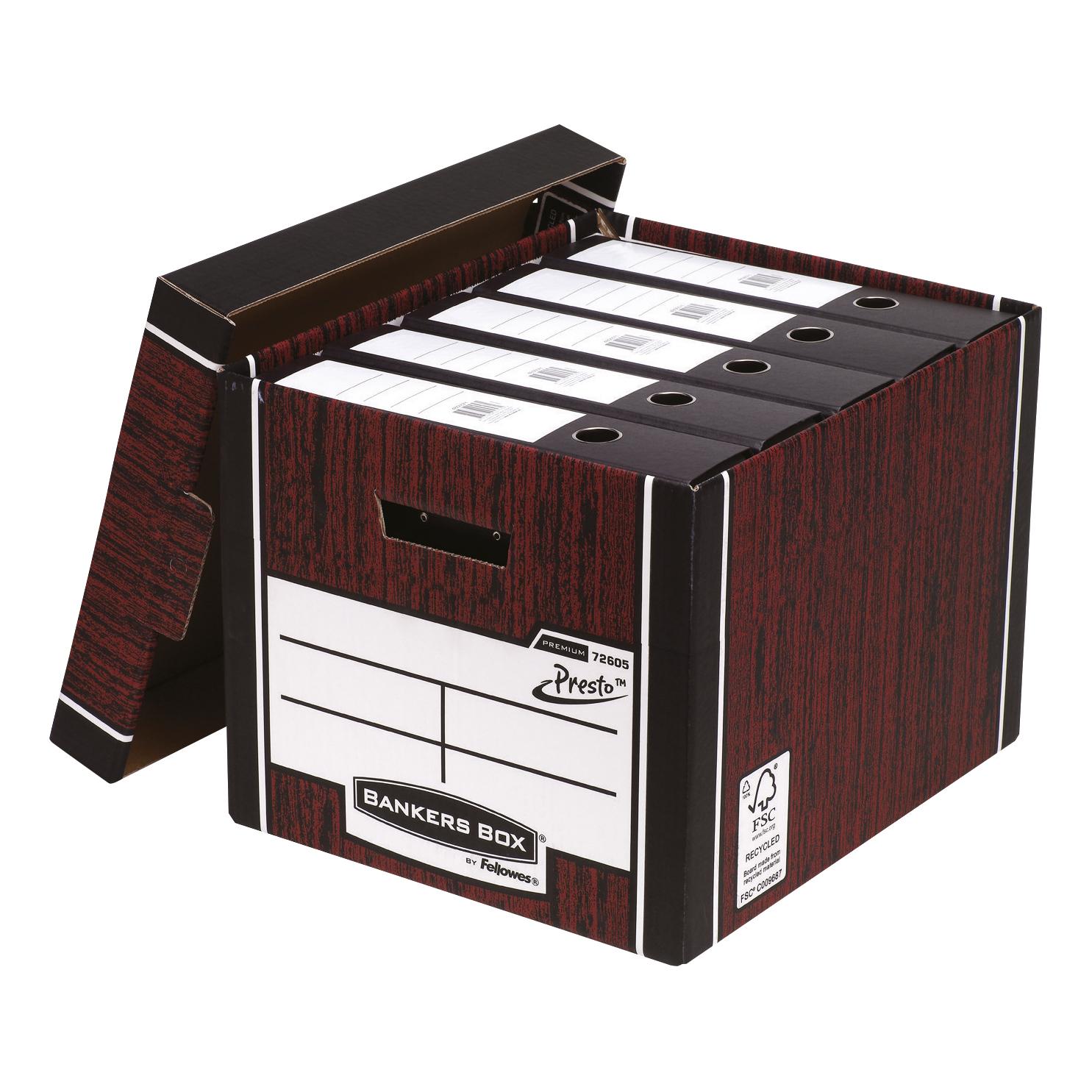 Bankers Box Premium Storage Box Presto Tall Woodgrain FSC Ref 7260503 [Pack 12] [12 for the price of 10]