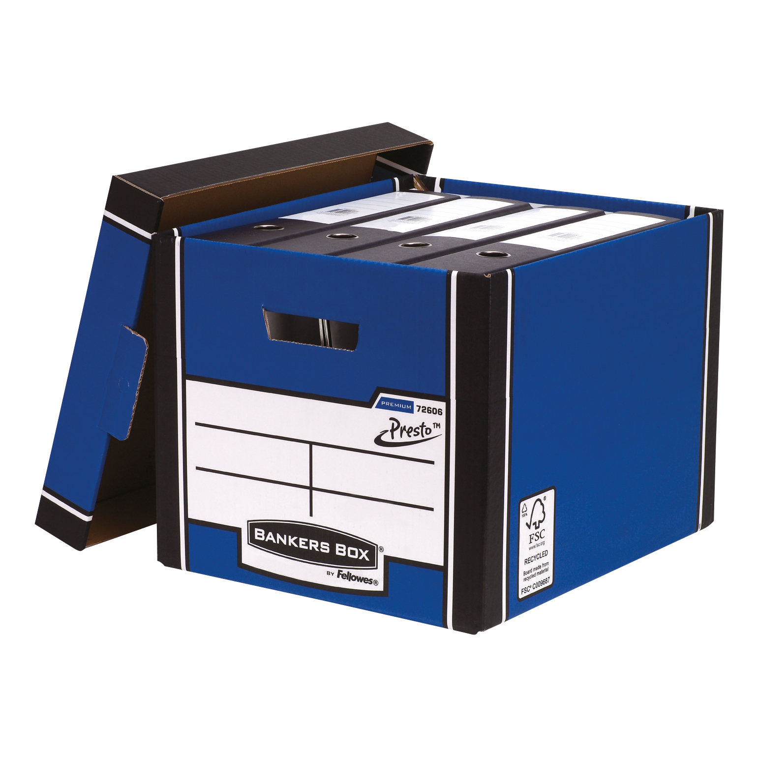 Bankers Box Premium Storage Box (Presto) Tall Blue FSC Ref 7260603 [Pack 12] [12 for the price of 10]